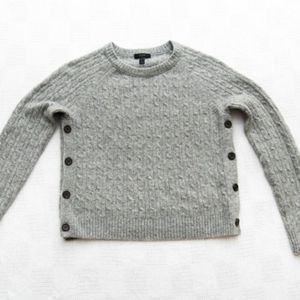 J CREW Medium Gray Cable-Knit Side-Button Sweater